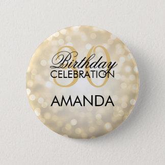 Elegant 30th Birthday Party Gold Glitter Lights Pinback Button