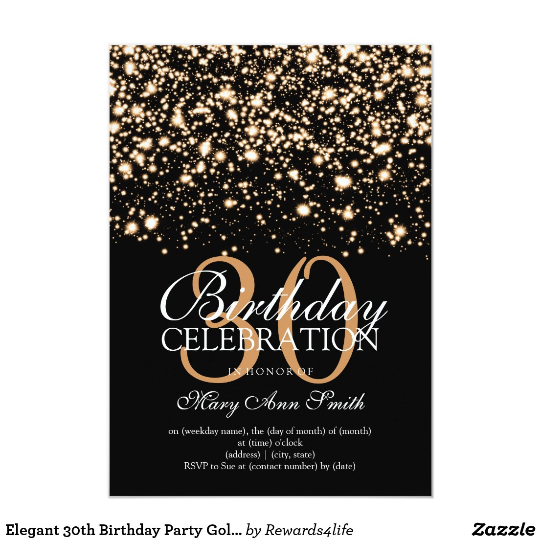 Elegant 30th Birthday Party Gold Midnight Glam Invitation