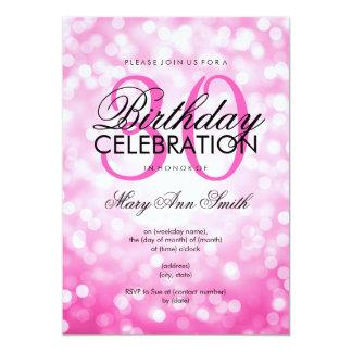 Elegant 30th Birthday Party Pink Glitter Lights 5x7 Paper Invitation Card