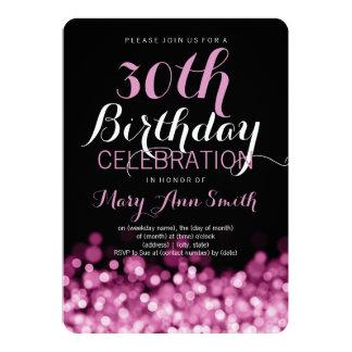 Elegant 30th Birthday Party Pink Lights 5x7 Paper Invitation Card