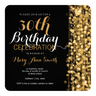 elegant_30th_birthday_party_sparkles_gold_card r087be7c63adc4073a4c358227442f941_zk91f_324?rlvnet=1 elegant 30th birthday invitations & announcements zazzle,Elegant Birthday Invitations