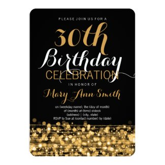 Elegant 30th Birthday Party Sparkles Gold Invitation