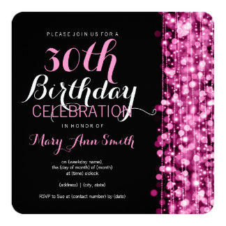 Elegant 30th Birthday Party Sparkles Pink 5.25x5.25 Square Paper Invitation Card