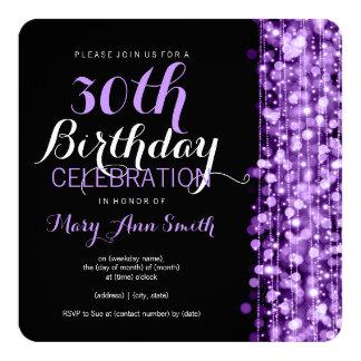 Elegant 30th Birthday Party Sparkles Purple Card