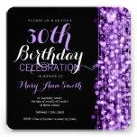 Elegant 30th Birthday Party Sparkles Purple Announcement