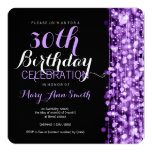 Elegant 30th Birthday Party Sparkles Purple Announcement