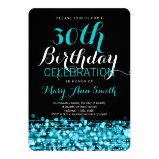 Elegant 30th Birthday Party Sparkles Turquoise Card