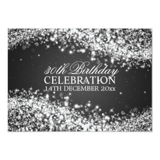 Elegant 30th Birthday Party Sparkling Wave Black Card
