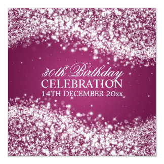 Elegant 30th Birthday Party Sparkling Wave Pink 5.25x5.25 Square Paper Invitation Card