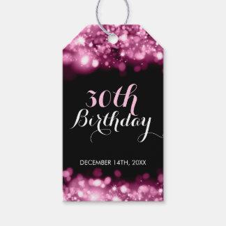 Elegant 30th Birthday Pink Sparkling Lights Gift Tags