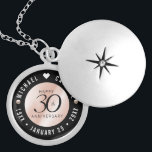 """Elegant 30th Pearl Wedding Anniversary Celebration Locket Necklace<br><div class=""""desc"""">Commemorate the 30th wedding anniversary with this elegant locket! Elegant black serif and sans serif lettering with pearls on a pearlescent background add a memorable touch for this special occasion and extraordinary milestone. Customize with the happy couple's names, and dates for their pearl anniversary. Design © W.H. Sim, All Rights...</div>"""