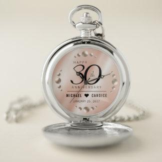 Elegant 30th Pearl Wedding Anniversary Celebration Pocket Watch