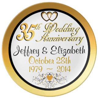 Elegant 35th Anniversary Porcelain Plate