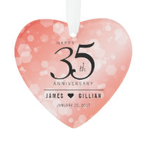 Elegant 35th Coral Wedding Anniversary Ornament