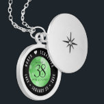 """Elegant 38th Emerald Wedding Anniversary Locket Necklace<br><div class=""""desc"""">Commemorate the 38th wedding anniversary with this elegant locket! Elegant black serif and sans serif lettering with hexagonal confetti on an emerald green background add a memorable touch for this special occasion and extraordinary milestone. Customize with the happy couple's names, and dates for their emerald anniversary. Design © W.H. Sim,...</div>"""