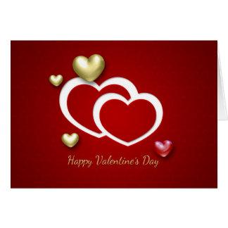Elegant 3D Valentine Hearts - Greeting Card