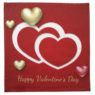 Elegant 3D Valentine Hearts - Napkin