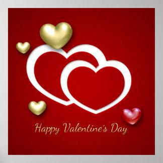 Elegant 3D Valentine Hearts - Poster