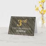 [ Thumbnail: Elegant 3rd Birthday: Faux Wood, Faux Gold Look Card ]