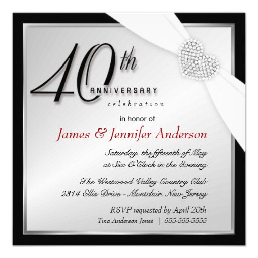 Elegant 40th Annniversary Party Invitations