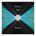 Elegant 40th Birthday Black Teal Blue Diamond Personalized Invite
