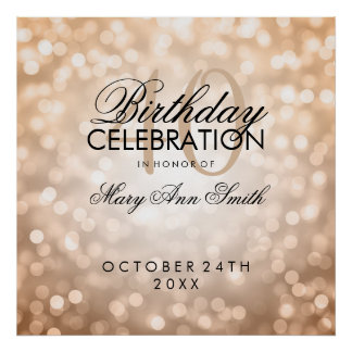 Elegant 40th Birthday Party Glitter Lights Copper Poster