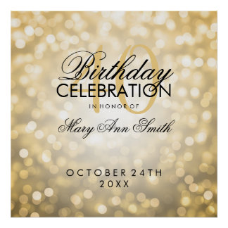Elegant 40th Birthday Party Glitter Lights Gold Poster