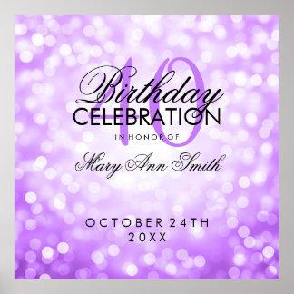 Elegant 40th Birthday Party Glitter Lights Purple Poster