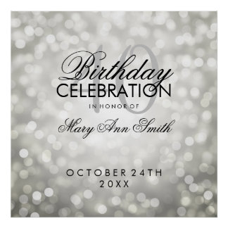 Elegant 40th Birthday Party Glitter Lights Silver Poster