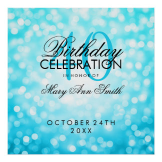 Elegant 40th Birthday Party Glitter Lights Turquoi Poster