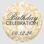 Elegant 40th Birthday Party Gold Glitter Lights Classic Round Sticker