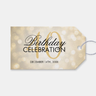 Elegant 40th Birthday Party Gold Glitter Lights Gift Tags