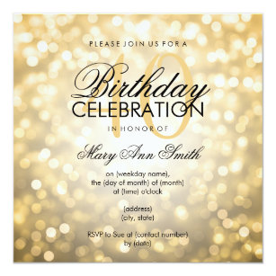 Elegant 40th birthday invitations zazzle elegant 40th birthday party gold glitter lights invitation filmwisefo