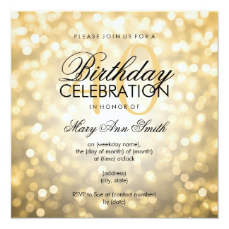 Elegant 40th Birthday Party Gold Glitter Lights 5.25x5.25 Square Paper Invitation Card