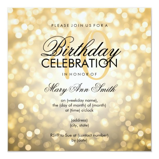 Elegant 40th birthday party gold glitter lights invitation zazzle elegant 40th birthday party gold glitter lights invitation filmwisefo