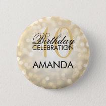 Elegant 40th Birthday Party Gold Glitter Lights Pinback Button
