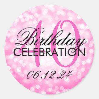 Elegant 40th Birthday Party Pink Glitter Lights Classic Round Sticker