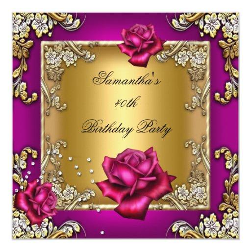 Elegant 40th Birthday Party Pink Rose Gold Card  Zazzle