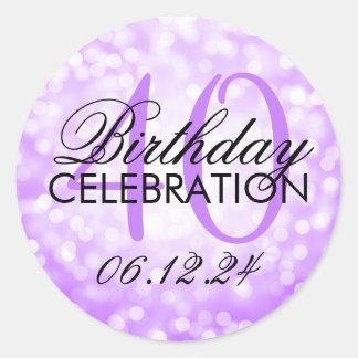 Elegant 40th Birthday Party Purple Glitter Lights Classic Round Sticker
