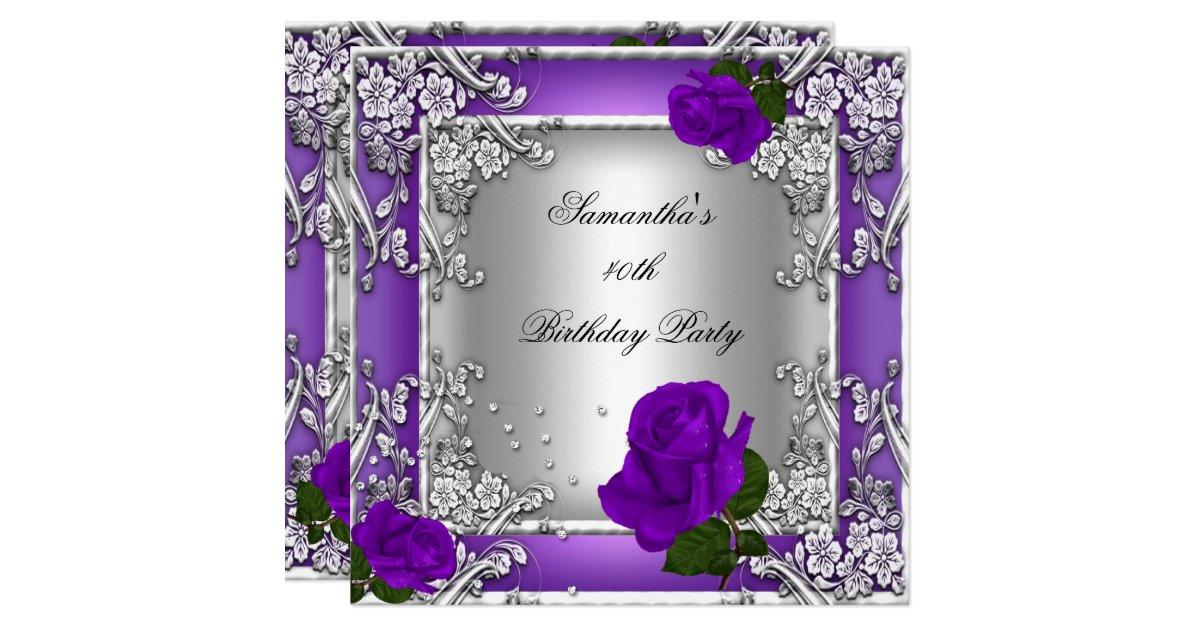 Purple Rose Wedding Invitations: Elegant 40th Birthday Party Purple Rose Silver Invitation