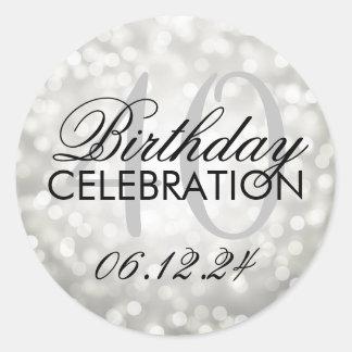 Elegant 40th Birthday Party Silver Glitter Lights Classic Round Sticker
