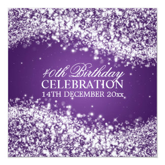 Elegant 40th Birthday Party Sparkling Wave Purple Card
