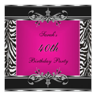 "Elegant 40th Birthday Pink Zebra Black Silver 5.25"" Square Invitation Card"