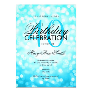Elegant 40th Birthday Turquoise Glitter Lights Card