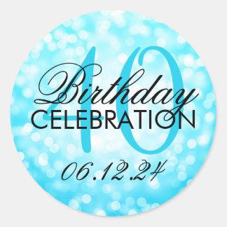 Elegant 40th Birthday Turquoise Glitter Lights Classic Round Sticker