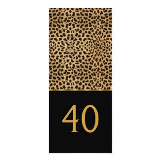 "Elegant 40th Leopard Elegant Birthday Party 4"" X 9.25"" Invitation Card"
