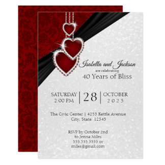 Elegant 40th Ruby Anniversary Design Card