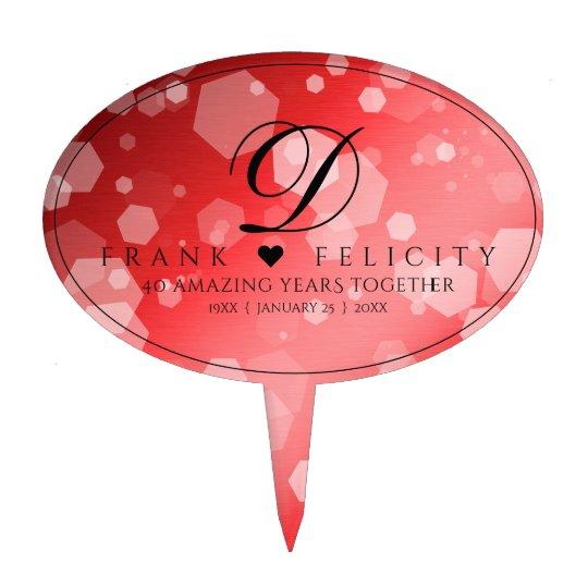 Elegant 40th Ruby Wedding Anniversary Celebration Cake Topper
