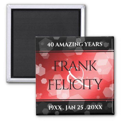 Elegant 40th Ruby Wedding Anniversary Celebration Magnet