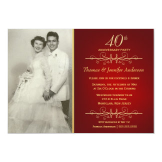 Elegant 40th Ruby Wedding Anniversary Invitations